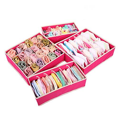 Nifogo Unterwäsche Organizer, Schubladenunterteilungen, Trennfächer für Schubläden, 4 Satz Faltbare Kleidungs-Aufbewahrungsboxen, Unterwäsche, Dessous, Socken (Rose rot)