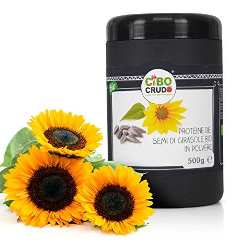 Cibocrudo, Proteine dei Semi di Girasole in Polvere Bio Crude, Raw Organic Powder, Ideale Come Fonte Proteica Vegetale e Vegana, De-Oleate, Fonte di Aminoacidi e Fibre – 500 gr