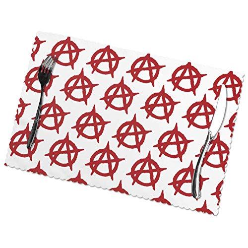 tyui7 Alfombrilla de Mesa de poliéster Resistente al Calor con símbolo de Bandera anarquista roja para Cocina, Comedor, Juego de 4