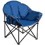 COSTWAY Campingstuhl Gepolsterter Moon Chair, Faltstuhl Rund mit Becherhalter, Klappstuhl Mondstuhl für Camping Angeln Draußen 82x62x90cm (Blau)