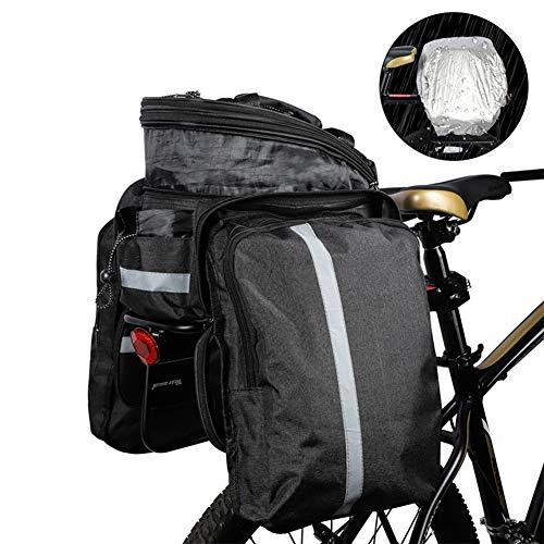 Ti-Fa Étanche Bike Pannier 10-25L Multi-Fonction à Grande capacité de vélos Siège arrière du Coffre Sac avec Couverture Anti-Pluie pour Commute, Voyage et Pique-Nique,Noir
