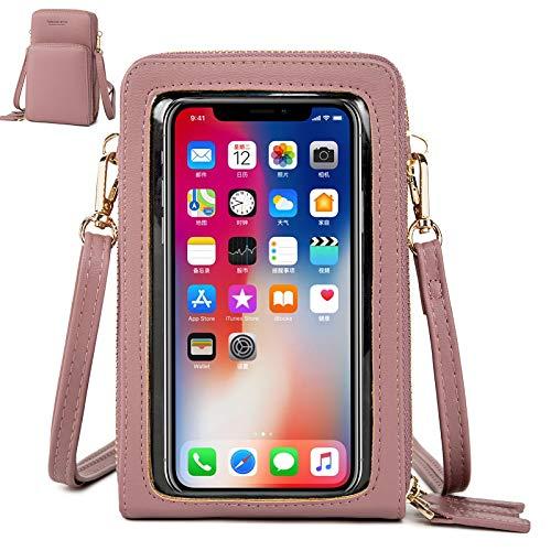 Handy Umhängetasche Damen, Touchscreen Tasche Kleine Crossbody Schultertasche Brieftasche Handtasche, 3 Reißverschluss Beutel mit Vielen Fächern Kartenfach Geldbörse für Handy unter 6.5 Zoll, Rosa