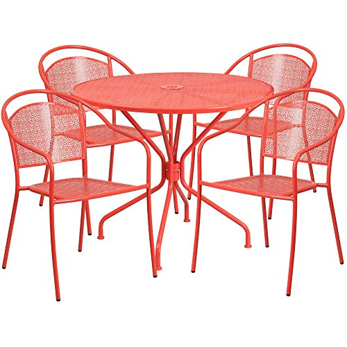 5-Piece Coral Red Round Back Outdoor Furniture Patio Dining Set