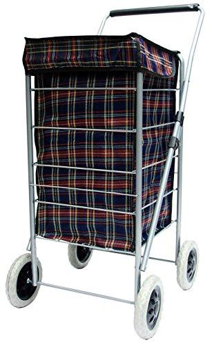 4 Wheel Shopping Navy Tartan Waterproof Folding Trolley Bag