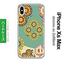 SCG08 Galaxy A32 スマホケース カバー エスニック花柄 緑×ベージュ 【対応機種:Galaxy A32 SCG08】【アルファベット [J]】