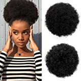 AISI QUEENS Short Afro Synthetic Curly Hair Ponytail African American Kinky Curly Wrap Drawstring Puff Ponytail Hair Extensions Wig with 2 Clips(Large 1B#)