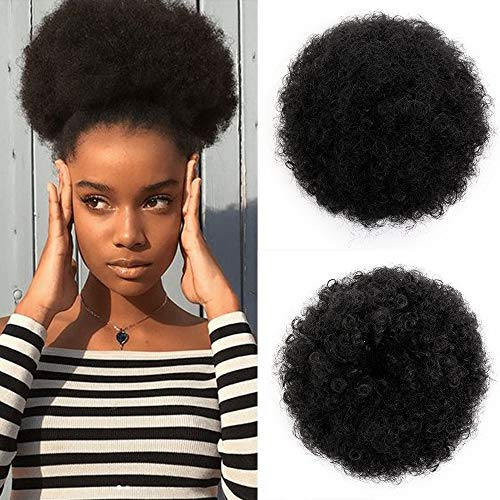 AISI QUEENS Short Afro Synthetic Curly Hair Ponytail African American Kinky Curly Wrap Drawstring Puff Ponytail Hair Extensions with 2 Clips(Large 1B#)