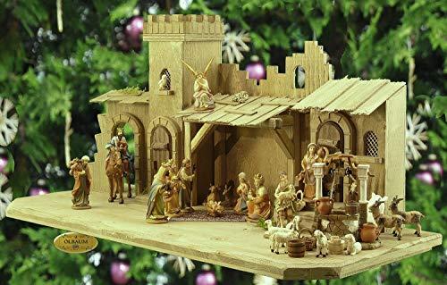 ÖLBAUM-Krippe KB70gg-MF-ORGL- 70 cm - Holz-Weihnachtskrippe, mit LED + BRUNNEN + Premium-DEKOSET Gelobtes Land, Massivholz Burg GEBEIZT - mit 12 x Premium-Krippenfiguren + Engel -