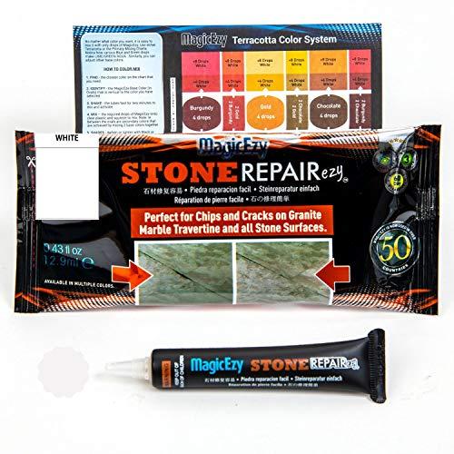MagicEzy Stone Fix - Granit-Riss-Reparatur - Füllungen und Farbschäden - Langlebige Reparaturen - Garantiert - Weiß