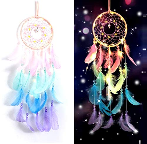 N-D Dream Catchers with LED lamp Wall Hanging Decoration for Girls Bedroom Wedding Decoration