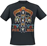 Photo de Guns N' Roses Tour 1988 Homme T-Shirt Manches Courtes Noir M, 100% Coton, Regular/Coupe Standard