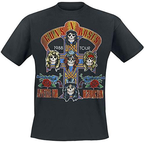 Guns N' Roses Tour 1988 Uomo T-Shirt Nero M 100% Cotone Regular