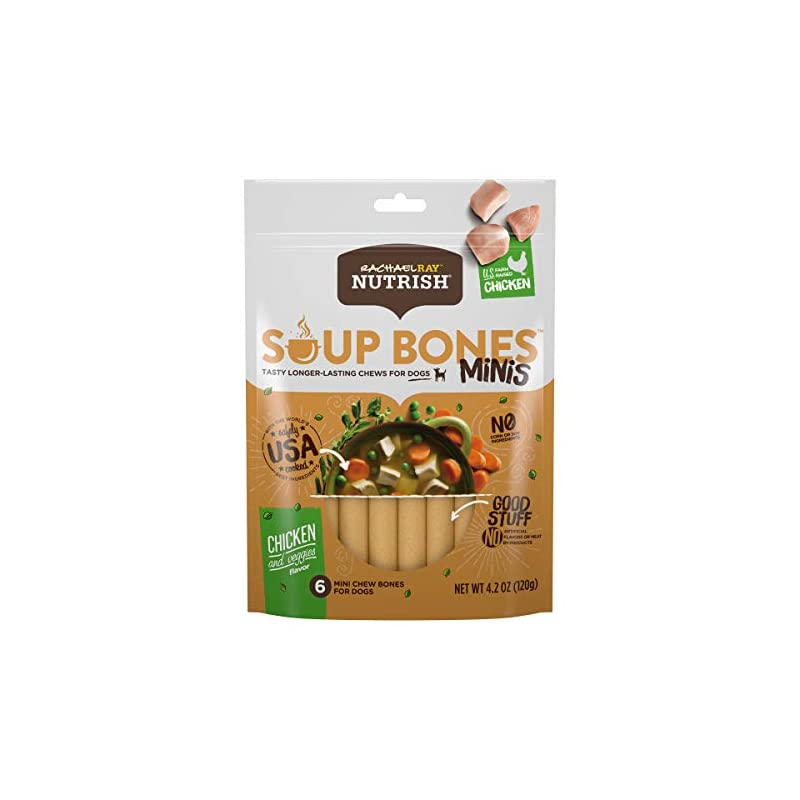 dog supplies online rachael ray nutrish soup bones minis dog treats, chicken & veggies flavor, 48 bones