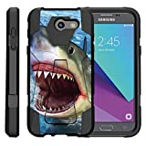 TurtleArmor | Compatible with Samsung Galaxy J3 Emerge Case | J3 (2017) [Dynamic Shell] Dual Layer Hybrid Case Fitted Silicone Kickstand Sea Ocean - Shark Attack