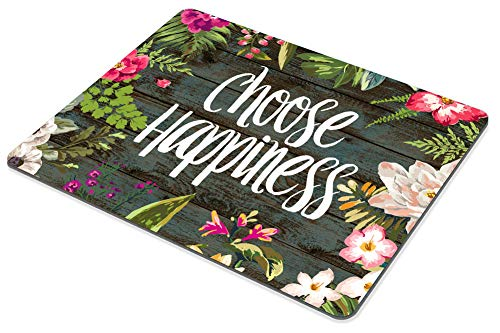Smooffly Funny Quote Gaming Mouse Pad Custom,Choose Happiness Quotes Vintage Colored Floral Wreath Print Rustic Old Wood Art Mouse Pads Photo #4