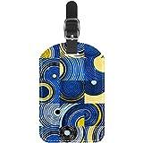 TIZORAX Etiquetas de equipaje abstractas con diseño de círculos y cuadrados de piel para maleta de viaje 1 paquete
