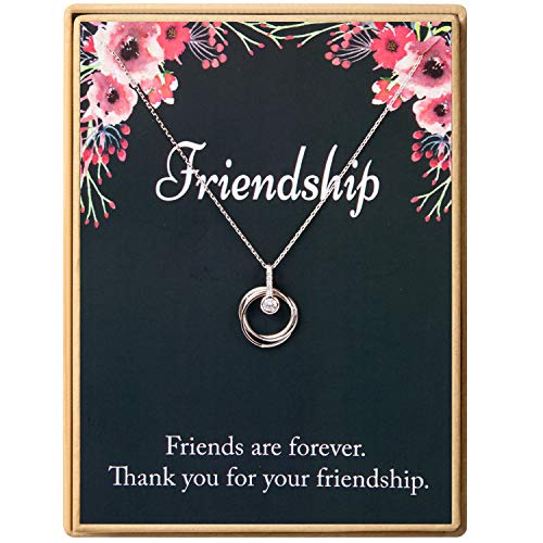 925 Sterling Silver Interlocking Three Ring Circle CZ Pendant Necklace Friends Gift Birthday Gift