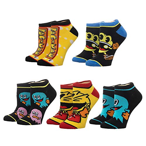 Adults Pac-Man Ankle Sock Set - 5-Pack, Officially Licensed