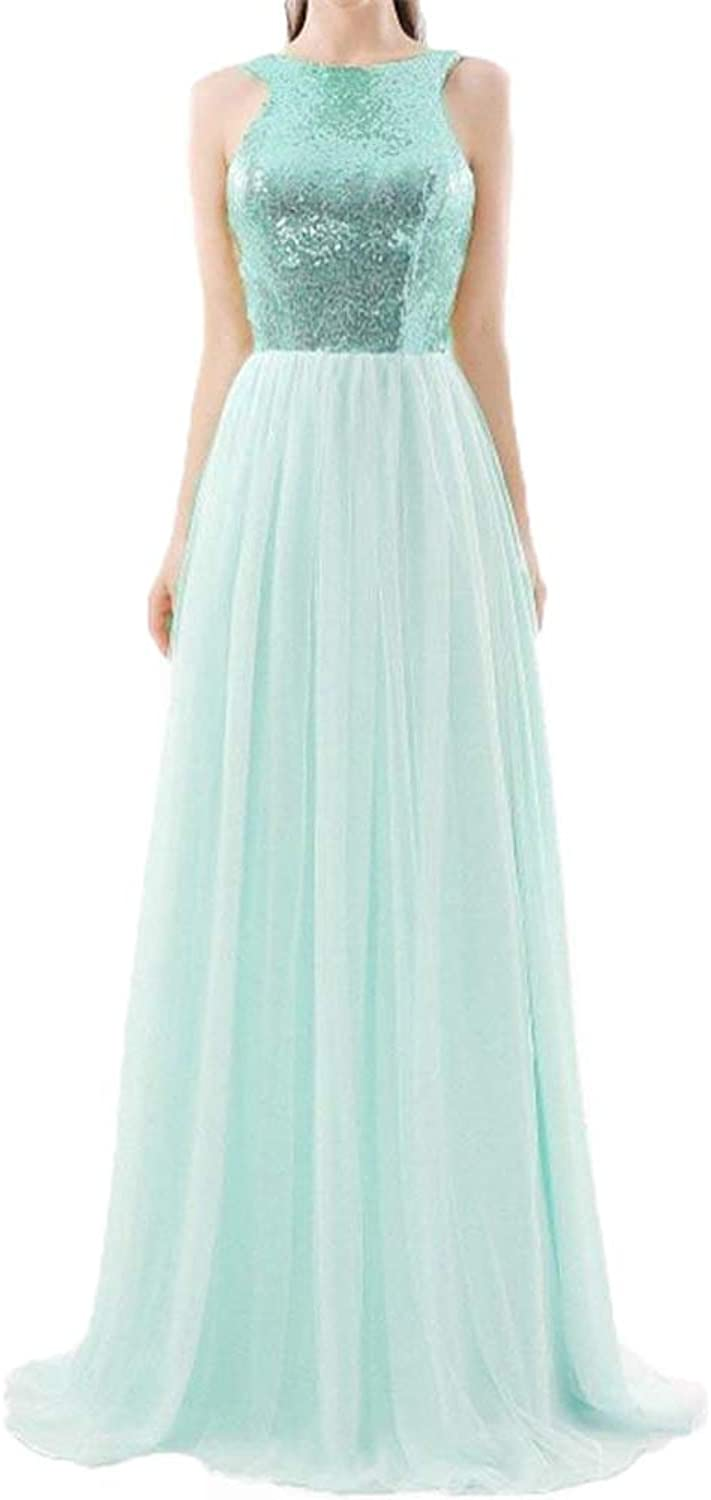 Aishanglina Women's Long gold Bridesmaid Tulle Dress Sparkly Prom Evening Gowns Plus Size