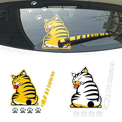Etiqueta engomada del cuerpo del coche 3D dibujos animados divertido gato patrón pegatina parabrisas trasero limpiaparabrisas autoadhesivo lateral camión vinilo gráficos calcomanías,Yellow