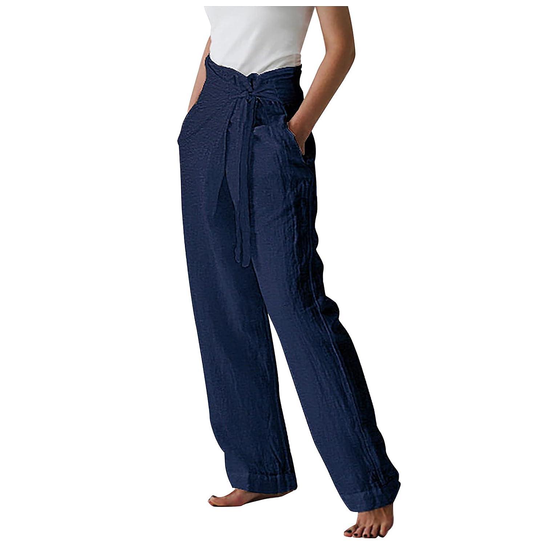 Cotton Linen Pants For Women Plus Size Sport Pants Loose Solid Color Bandage Casual Pants Wide Leg Pants