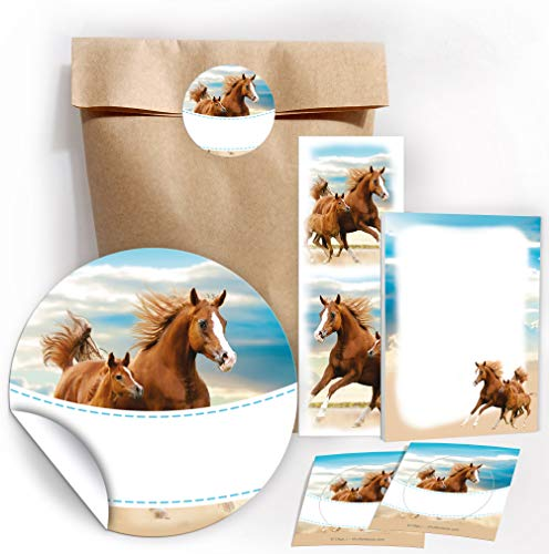 12 Geschenktüten / natur + 12 Aufkleber + 12 Lesezeichen + 12 Mini-Notizblöcke zwei Pferde / Mitgebsel Gastgeschenk für Kinder Mädchen Kindergeburtstag Geburtstag Party-Zubehör Giveaways