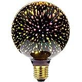 LightingDesigner Lampadina decorativa con effetto 3D, motivo fuochi d'artificio, sorgente luminosa a LED, stile classico Edison, CA 85-240 V, E27, G95, colore argento