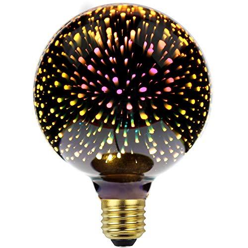 LightingDesigner Edison Classic 3D Glühbirne Feuerwerk LED Lichtquelle AC85-240V E27 Dekorative Glühbirne (Silber, G95)