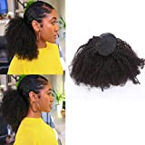 Loxxy Afro Kinky Curly Ponytail Extension Human Hair Natural Black Color Curly Ponytail Hair Piece Drawstring Ponytail Extension For Black Women Virgin Human Hair 12 Inch