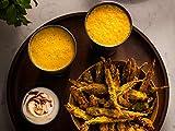 Feurige Okra-Chips und Mango Lassi