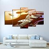 RZYLYHH 5 Piezas HD Pintura de Lienzo Minimalista imágenes Arte Música de Guitarra clásica Impresa impresión de Imagen artísticos para Interiores