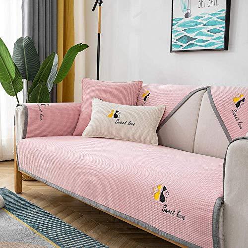 Sofabezug Protector, Sofa Slip Cover, Cat Stickerei Sofa Sitzbezug Haustiere, Hunde, Universal Corn Samt Sofa Kissenbezüge, rutschfeste Sofabezug Leder Couch-pink_90 * 160cm