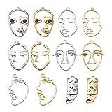 Craftdady Pendientes abstractos de cara humana, 24 unidades, colgantes de cara hueca para hacer joyas, platino y dorado