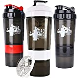 Funny Protein Shaker Water Bottle By Dad Bod Nutrition - 3 Part With Storage Mixer Cup Black with White Label