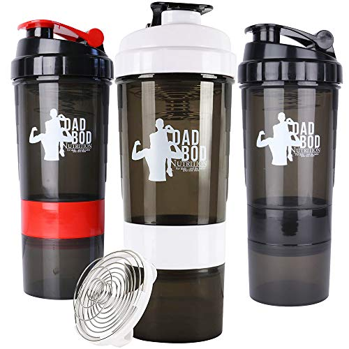Funny Protein Shaker Water Bottle By Dad Bod Nutrition - 3 Part With Storage for Protein Powder Mixer Cup
