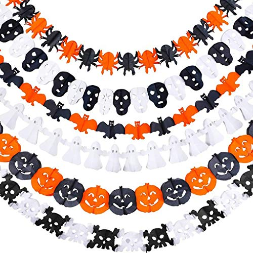 6PC Halloween Decoration Flags, Halloween Pull Flag Flower Decoration Color Bar, Halloween Prop Garland Pumpkin Flag Hanging Ghost Decor, Suitable for Halloween Party Decorations Supplies