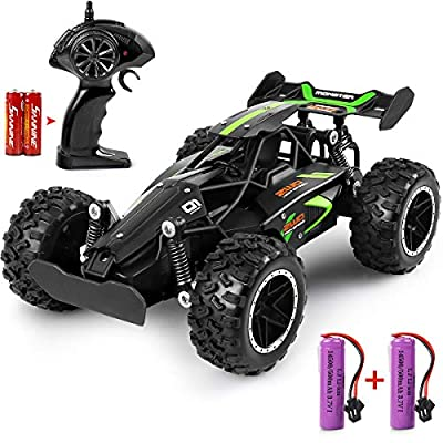 MOSFiATA G03063R 1:18 Scale 2.4Ghz Remote Control Car, 15-20 km/h High Speed RC Car 2 Lithium Rechargeable Batteries, Electric Toy Car for All Adults & Kids, Green+Black
