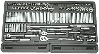 """Advanced Tool Design Model ATD-1380 106 Piece 1/4"""" and 3/8"""" Drive 6-Point Socket Set in Blow Molded Organizer Tray"""