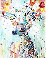 数字で描いたDIYペイント数字で描いたニホンジカキットアクリル油絵の具DIYクラフト絵画キャンバスにアートセット初心者の壁に簡単家の装飾 40×50cmフレームレス