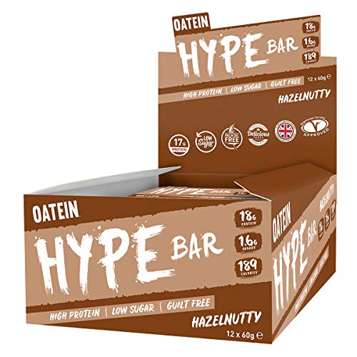 Oatein Hype 60g Protein Bar, High Protein, Low Sugar, Guilt Free, Hazelnutty bar with 18g Protein, 1.6g Sugar and only 189 Calories