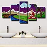 HFDSA Wall Art Pictures 5 Panel Print On Canvas Cartoon Buddha Bodhi Tree Picture For Home Modern Decoration Piece Stretched by Wooden Frame Ready To Hang(Framed).