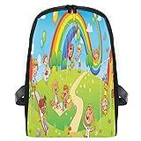 ELIENONO Carosello di sandbox con altalena per bambini,Viaggi Zaino Borsa a Tracolla,Zaino in Esterni Scuola Zaino Laptop Backpack per Uomo e Donna
