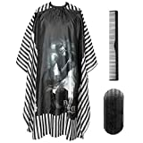 PLYRFOCE Professional Barber Salon Cape Haircut Cover Hairdresser Hair Holder Comb Kit Hair Cutting Capes For Men Women Adults Kids 4Pcs, 55'x63'(Skull)