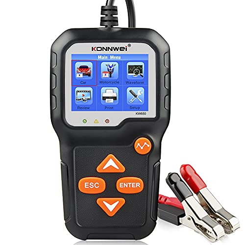 KONNWEI KW650 6V 12V Car Battery Tester, 100-2000 CCA Battery Load Tester Automotive Battery and...
