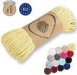 Amazinggirl Hilo Macrame 5 mm trapillo bobinas - Cuerda Algodon Cordon para Trenzado Tejer a Crochet Manualidades Amarillo