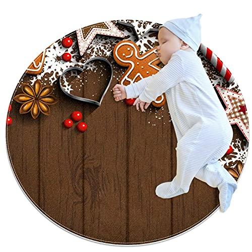 Tappeto rotondo per la stanza dei bambini Play Mat Home Decor Soggiorno Area Tappeti Decorazioni di Natale Elementi Modello Con Struttura in Legno 70 cm Tappeto