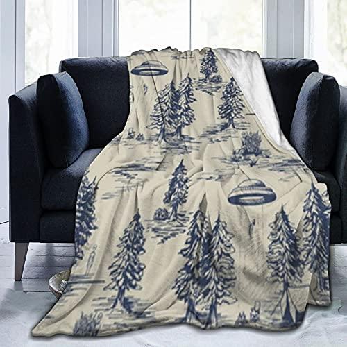 Alien Abduction Toile De Jouy - Manta de forro polar suave y ligera, cálida y acogedora, para mujeres y adultos y niños, regalos para sofá cama, sofá de 150 x 100 cm