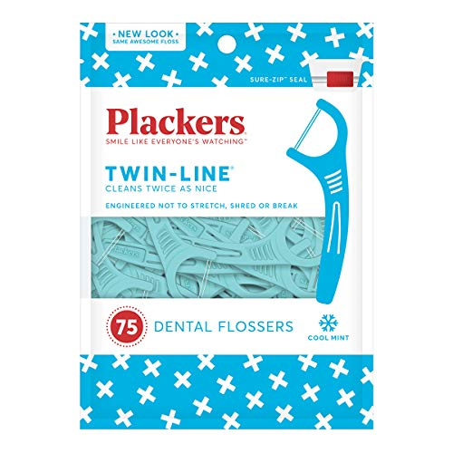 Plackers Whitening Twin Line Floss Picks - 75 ct - 3 pk