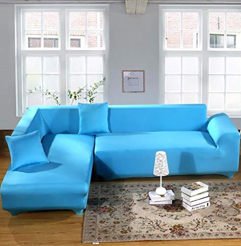 Forro de Sofá Doméstico,Funda de sofá elástica de color sólido, funda de sofá universal antideslizante para primavera, verano, otoño e invierno, funda de cojín para muebles a prueba de polvo, azul ci
