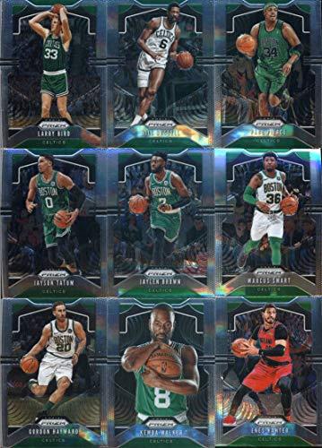 2019-20 Panini Prizm Basketball Boston Celtics Veteran Team Set of 9 Cards: Larry Bird(#16), Bill Russell(#21), Paul Pierce(#29), Jayson Tatum(#39), Jaylen Brown(#40), Marcus Smart(#41), Gordon Hayward(#42), Kemba Walker(#54), Enes Kanter(#212)